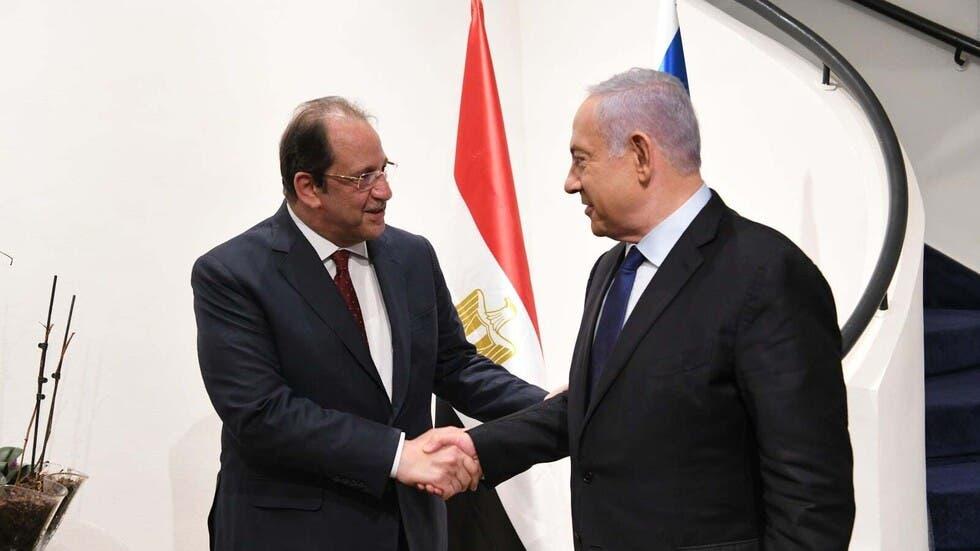 جانب من لقاء رئيس الوزراء الإسرائيلي بنيامين نتنياهو ومدير المخابرات المصرية عباس كامل