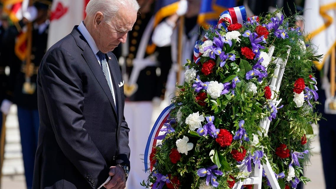 President Joe Biden pauses after placing a wreath at the Tomb of the Unknown Soldier at Arlington National Cemetery on Memorial Day, May 31, 2021, in Arlington, Va.(AP)