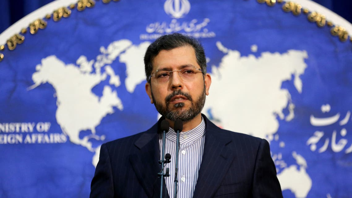 Iranian foreign ministry spokesman Saied Khatibzadeh speaks during a press conference in Tehran on February 22, 2021. (AFP)