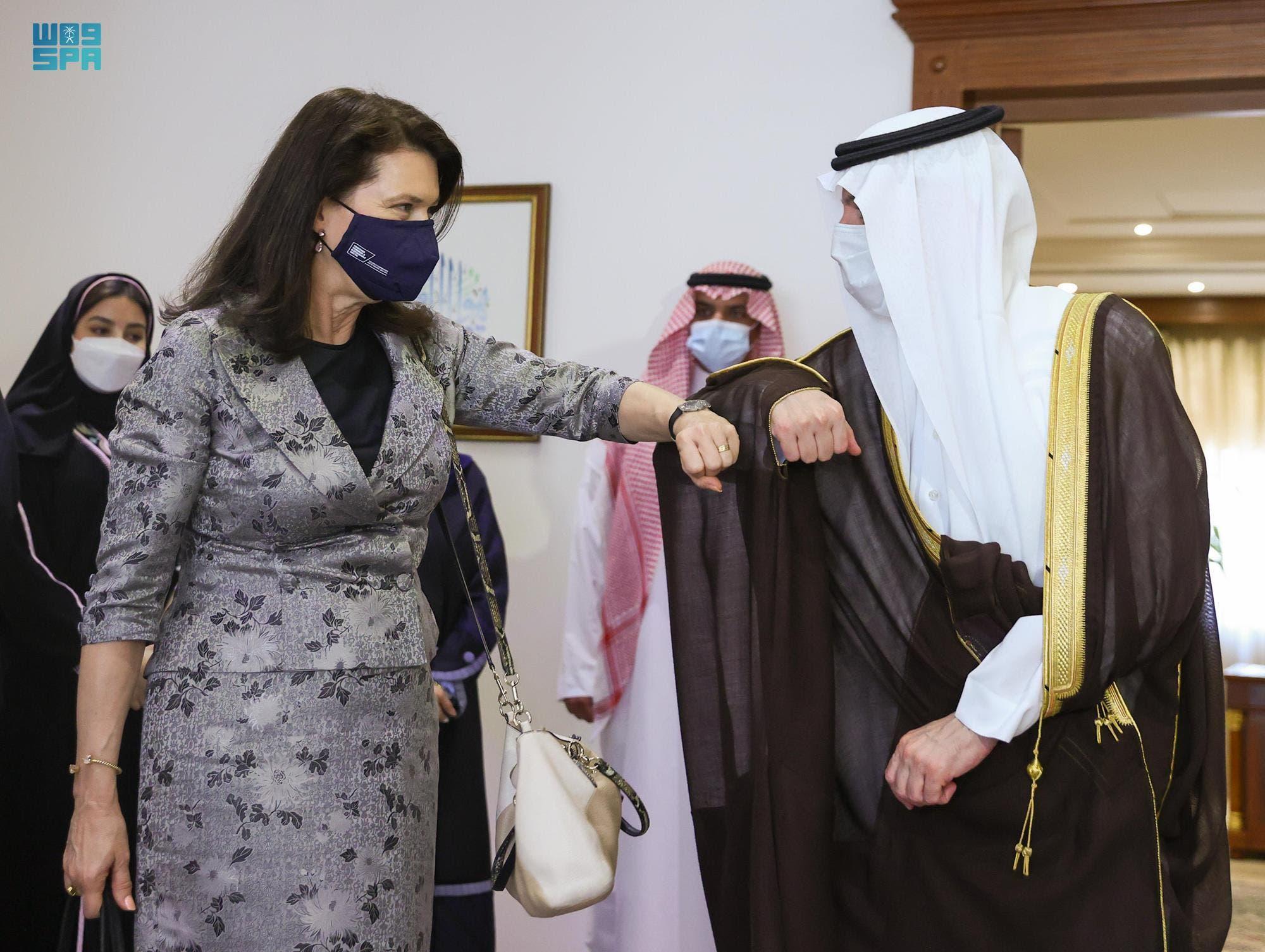 وزير الدولة السعودي للشؤون الخارجية عادل الجبير يستقبل الوزيرة السويدية