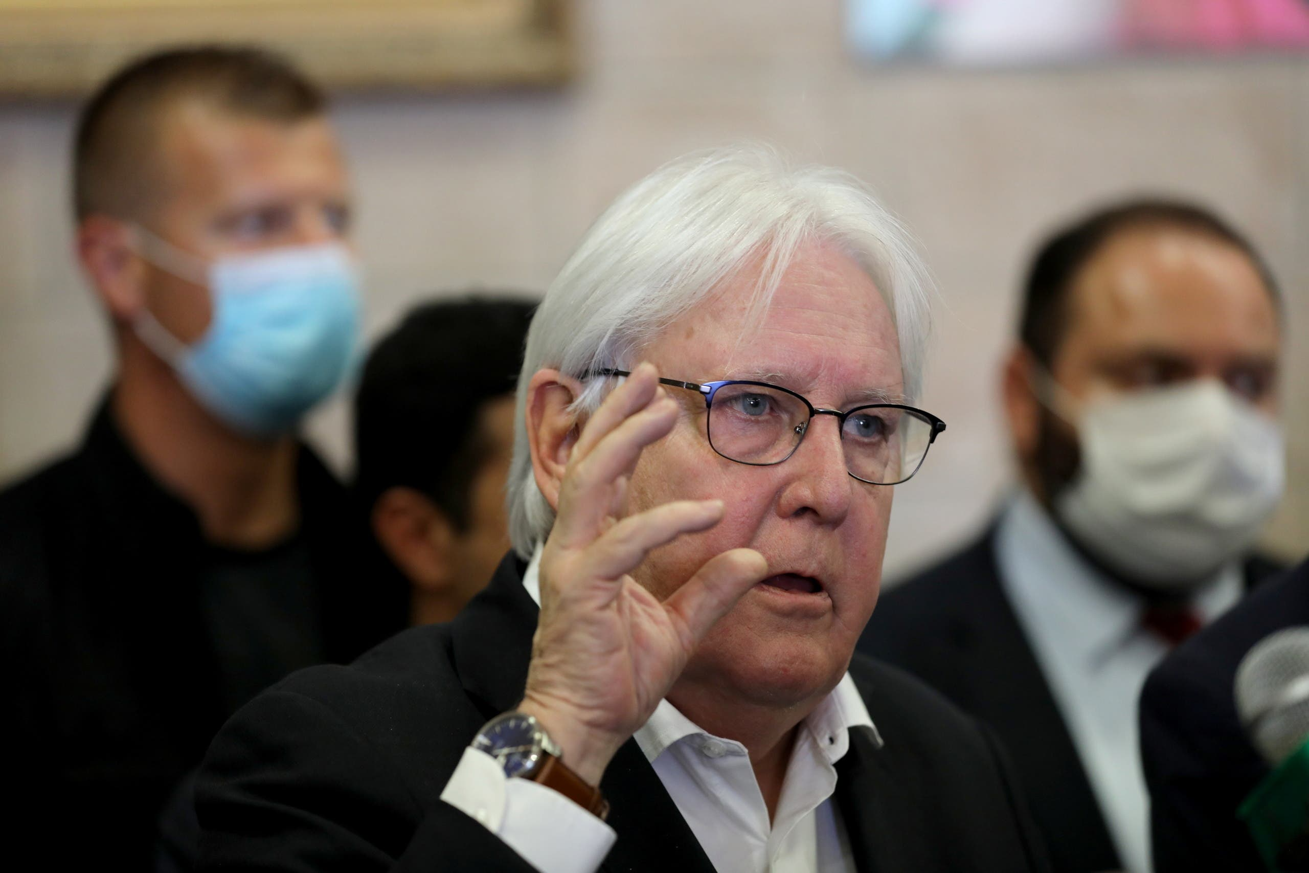 United Nations special envoy to Yemen, Martin Griffiths, speaks during a news conference at Sanaa Airport, in Sanaa, Yemen May 31, 2021. (Reuters)
