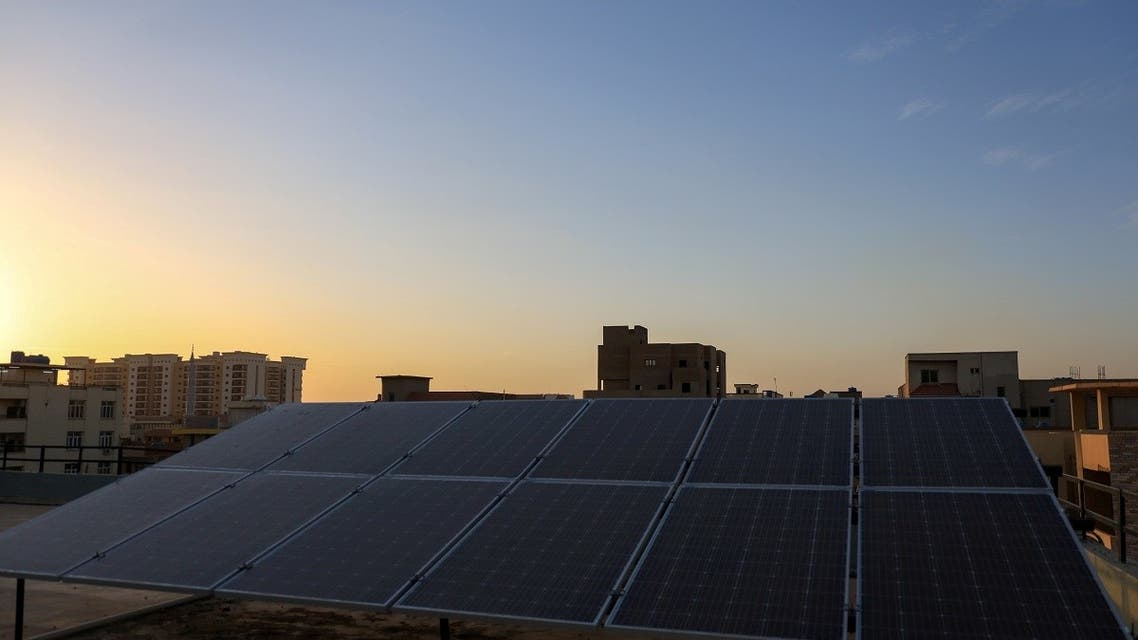 A solar panel is seen on the roof of a house of Bank manager, Abdel Maged Khougly, in Khartoum, Sudan May 17, 2021. Picture taken May 17, 2021. (Reuters)