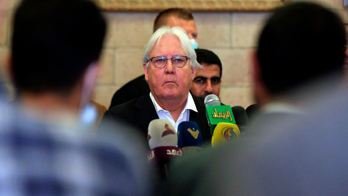 Former UN special envoy to Yemen, Martin Griffiths, speaks during a news conference at Sanaa Airport, Yemen May 31, 2021. (Reuters)