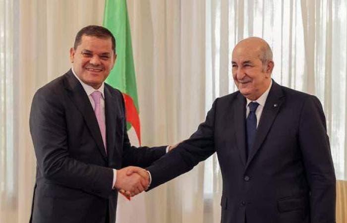 رئيس الحكومة الليبية عبد الحميد دبيبة مع رئيس الجزائر عبد المجيد تبون
