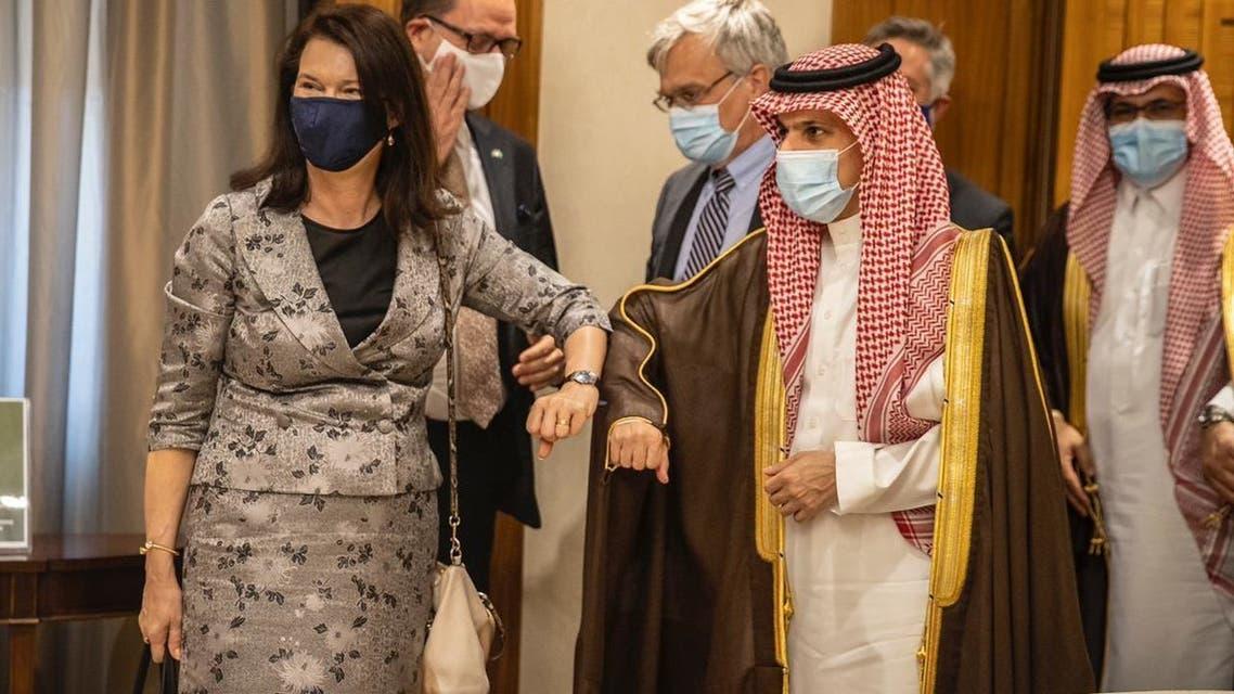وزير الخارجية السعودي الأمير فيصل بن فرحان بن عبدالله، اليوم الاثنين في مكتبه بمقر الوزارة في الرياض، وزيرة خارجية السويد آن ليندي