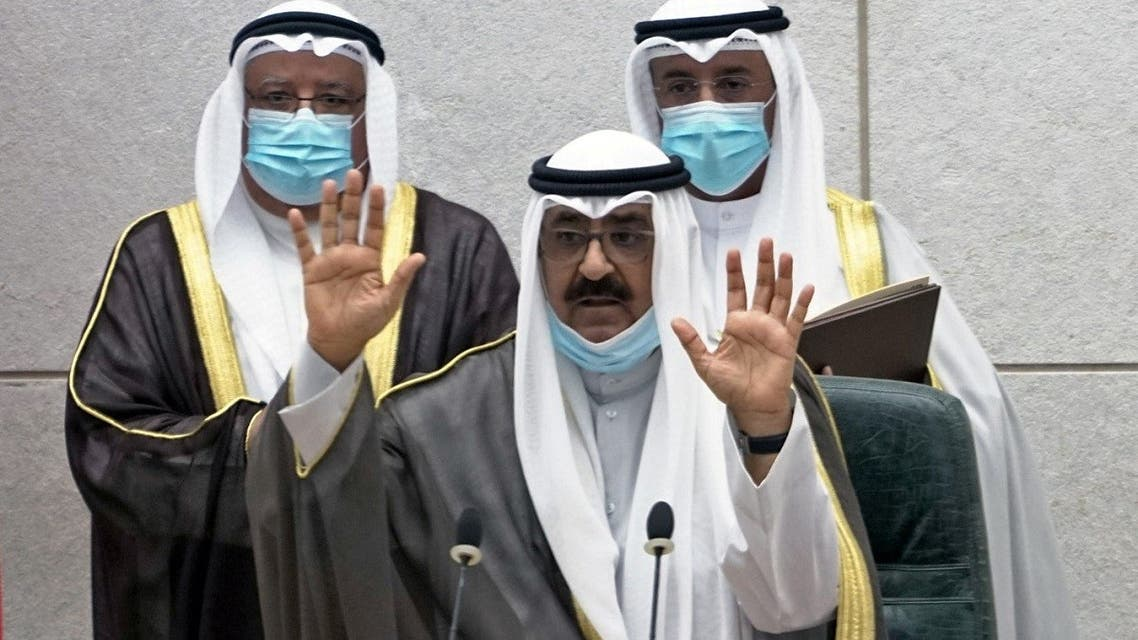 Kuwait's newly appointed crown prince Sheikh Meshal al-Ahmad Al-Jaber al-Sabah gestures before he is sworn in, at the parliament, in Kuwait City, Kuwait October 8, 2020.  (Reuters)