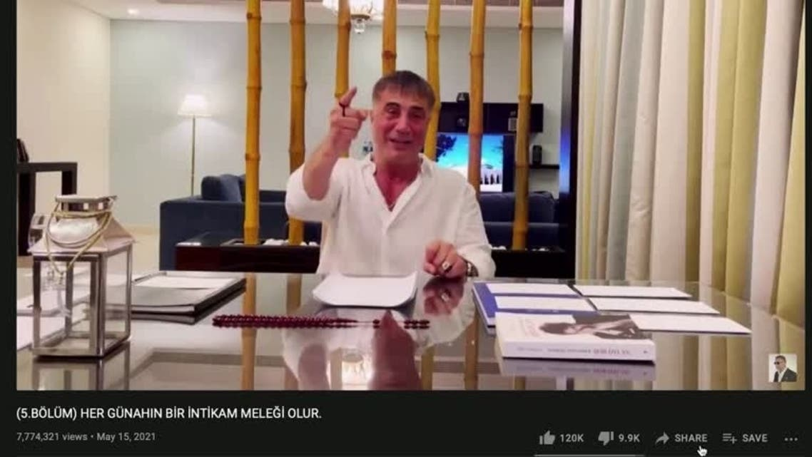 A screengrab from a video uploaded on Turkish gang leader Sedat Peker's YouTube channel. (Reuters)
