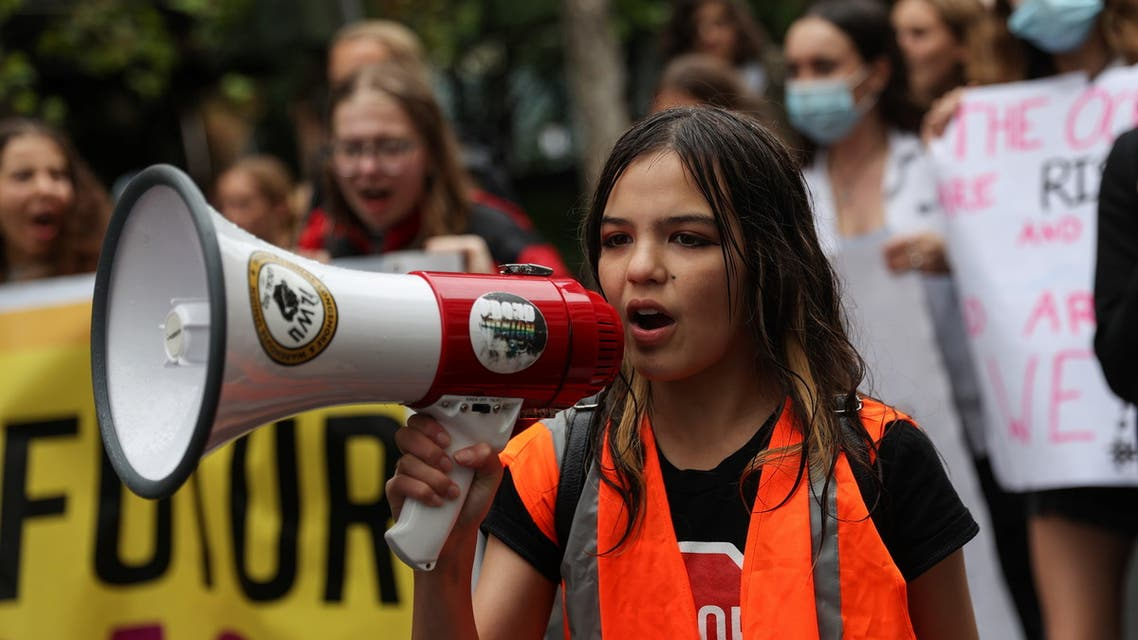 Izzy Raj-Seppings, a 14-year-old student and climate activist, leads a School Strike 4 Climate march with fellow youth rally organisers to demand action on climate change, in Sydney, Australia, May 21, 2021. Picture taken May 21, 2021. (File photo: Reuters)