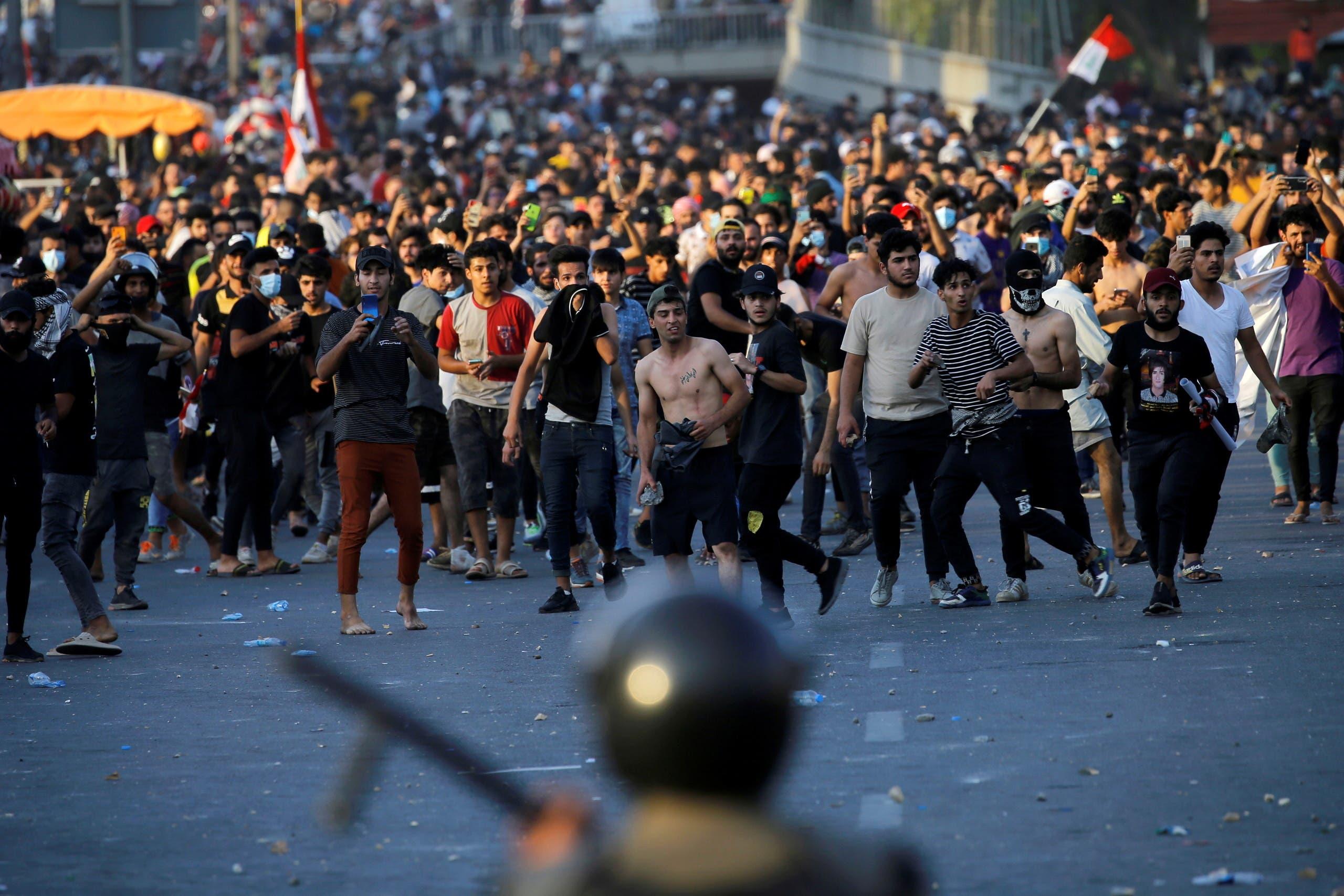 تظاهرات في بغداد في 25 أيار 2021 (رويترز)