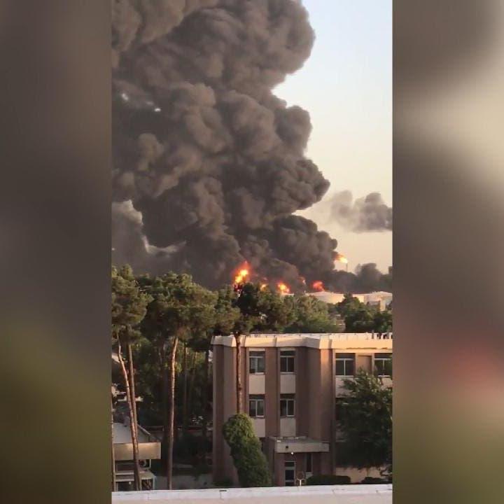 حريق ضخم في مصفاة نفط بطهران.. وتضرر 18 مستودعاً