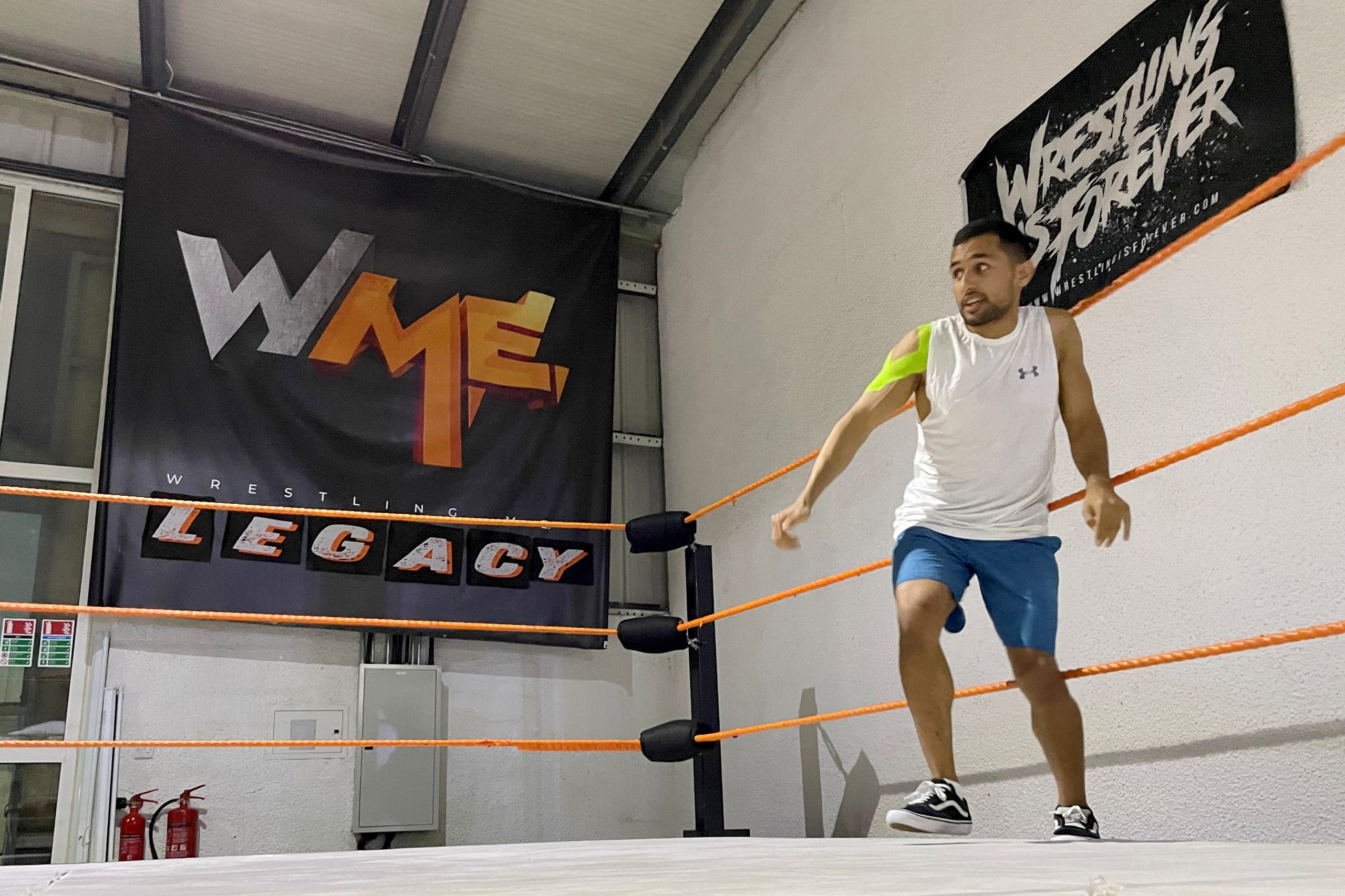 Mohamed Saif, also known as Shaheen, an Emirati wrestler, practices at a pro wrestling club in Dubai, United Arab Emirates, May 27, 2021. Picture taken May 27, 2021. (Reuters)