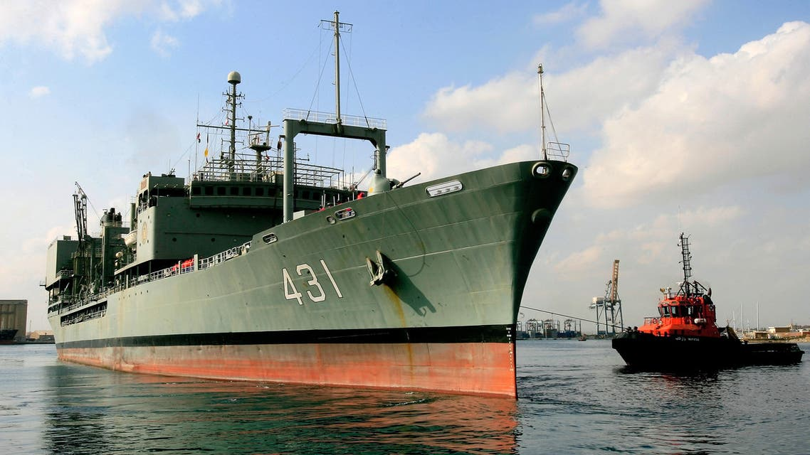 The Iranian Kharg replenishment ship is seen docked in the Red Sea Sudanese town of Port Sudan on October 31, 2012. (AFP)