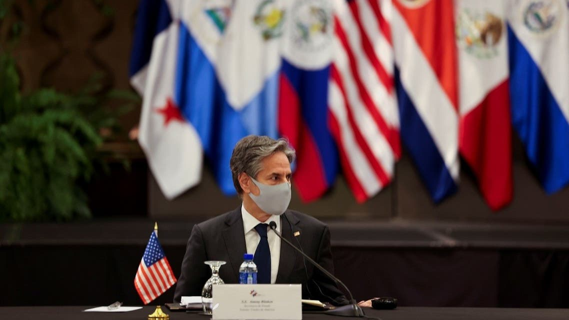 US Secretary of State Antony Blinken attends a meeting with the foreign ministers of Mexico and Central American Integration System (SICA) member states in San Jose, Costa Rica June 1, 2021. (Reuters)