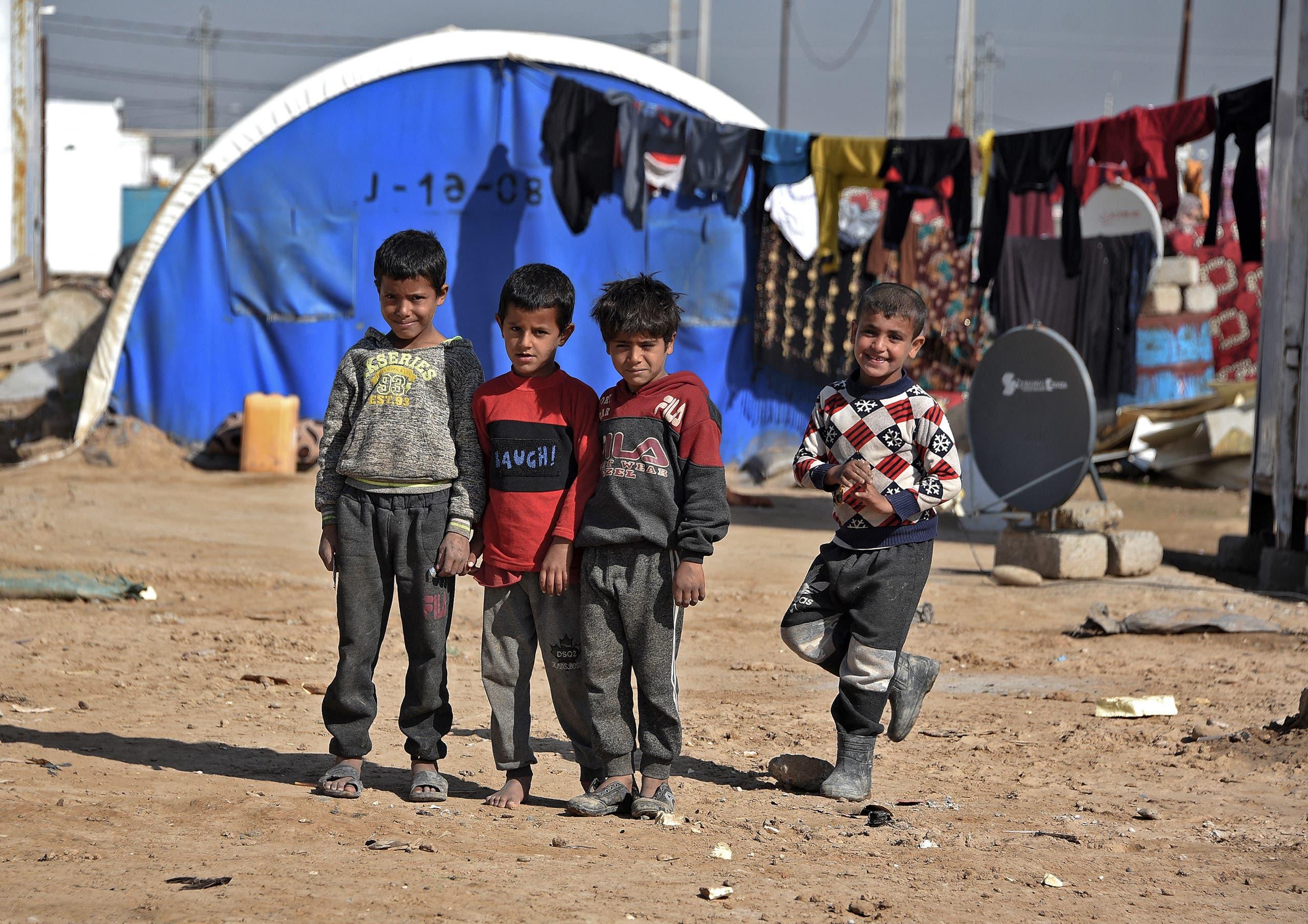 أطفال في مخيم الجدعة بالعراق (فرانس برس)