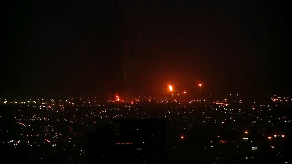 حريق في مصفاة نفط في طهران - إيران