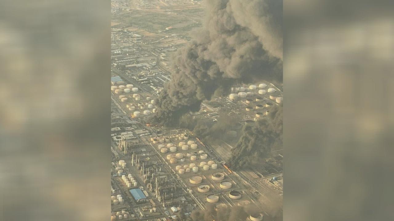 من حريق  مصفاة النفط جنوب طهران