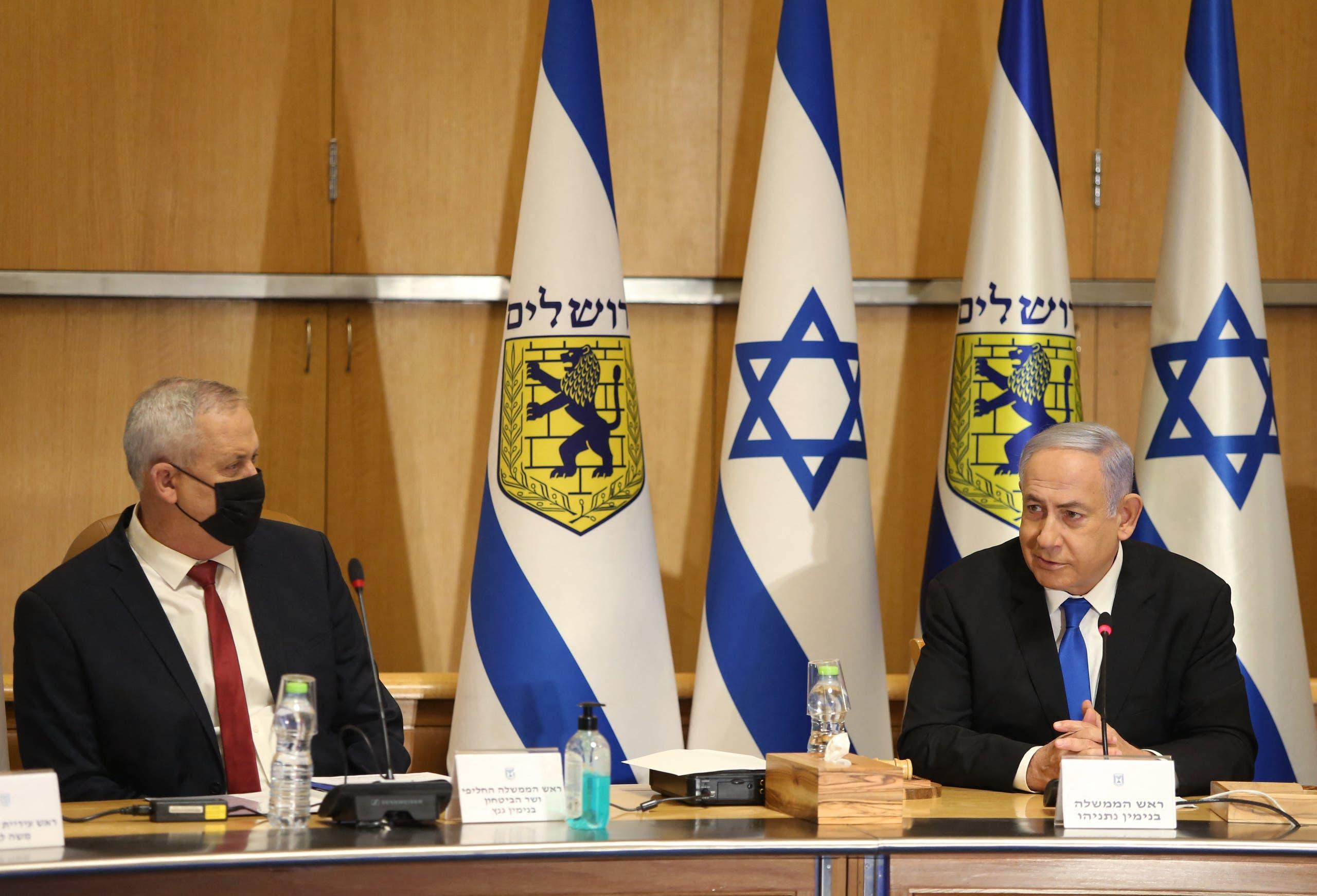 نتنياهو وغانتس خلال جلسة للحكومة الإسرائيلية ((أرشيفية)