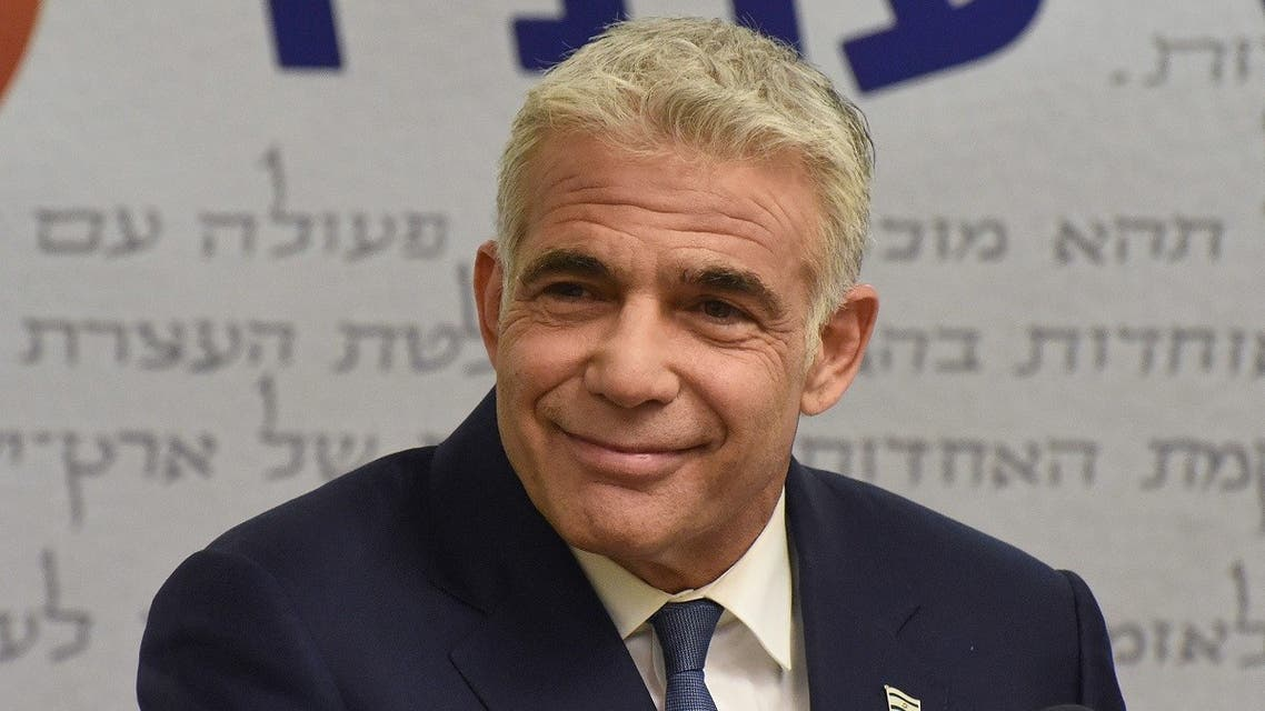 Israel's centrist opposition leader Yair Lapid delivers a statement to the press at the Knesset (Israeli parliament) in Jerusalem on May 31, 2021. (Debbie Hill/AFP)