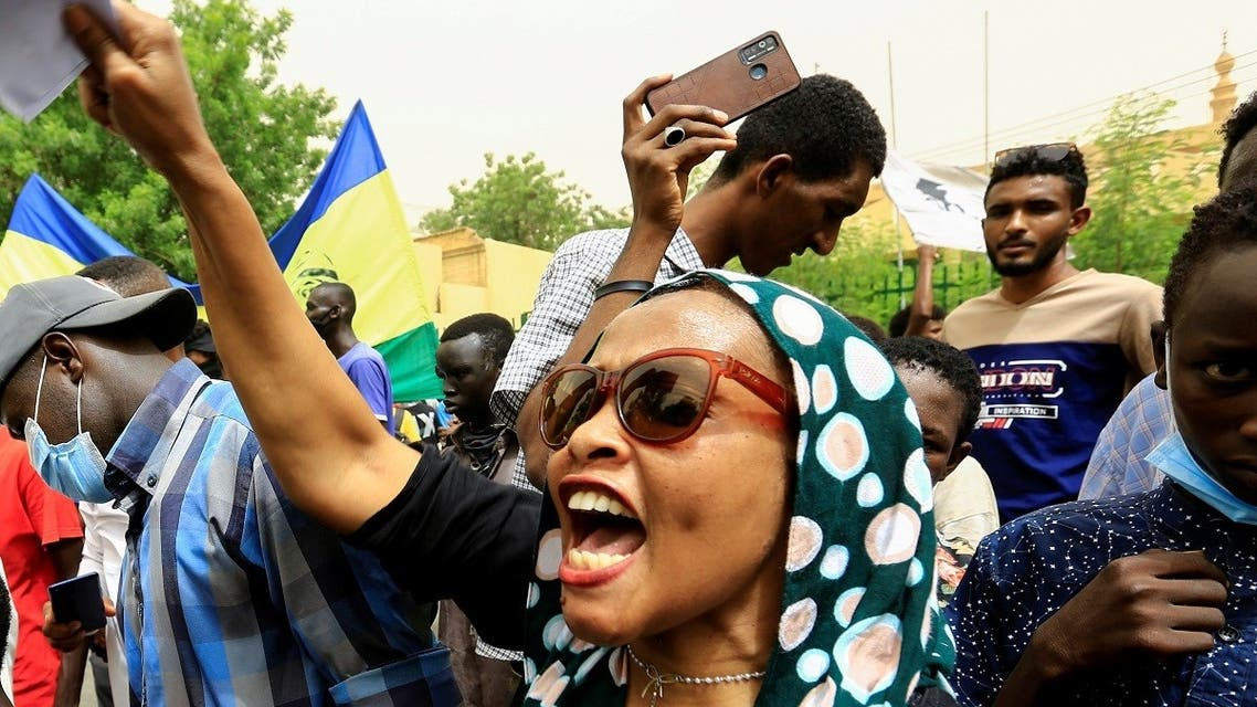 Sudanese take part in a march against the Rapid Support Forces, who they blame for a raid on protesters who had camped outside the defense ministry during the 2019 revolution, in Khartoum, Sudan, on June 3, 2021. (Reuters)