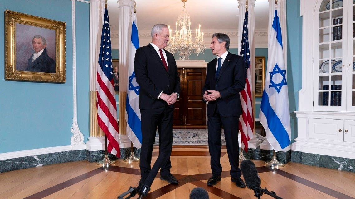 US Secretary of State Antony Blinken (R) meets with Israel's Defense Minister Benny Gantz, on June 3, 2021, at the State Department in Washington, DC. (AFP)