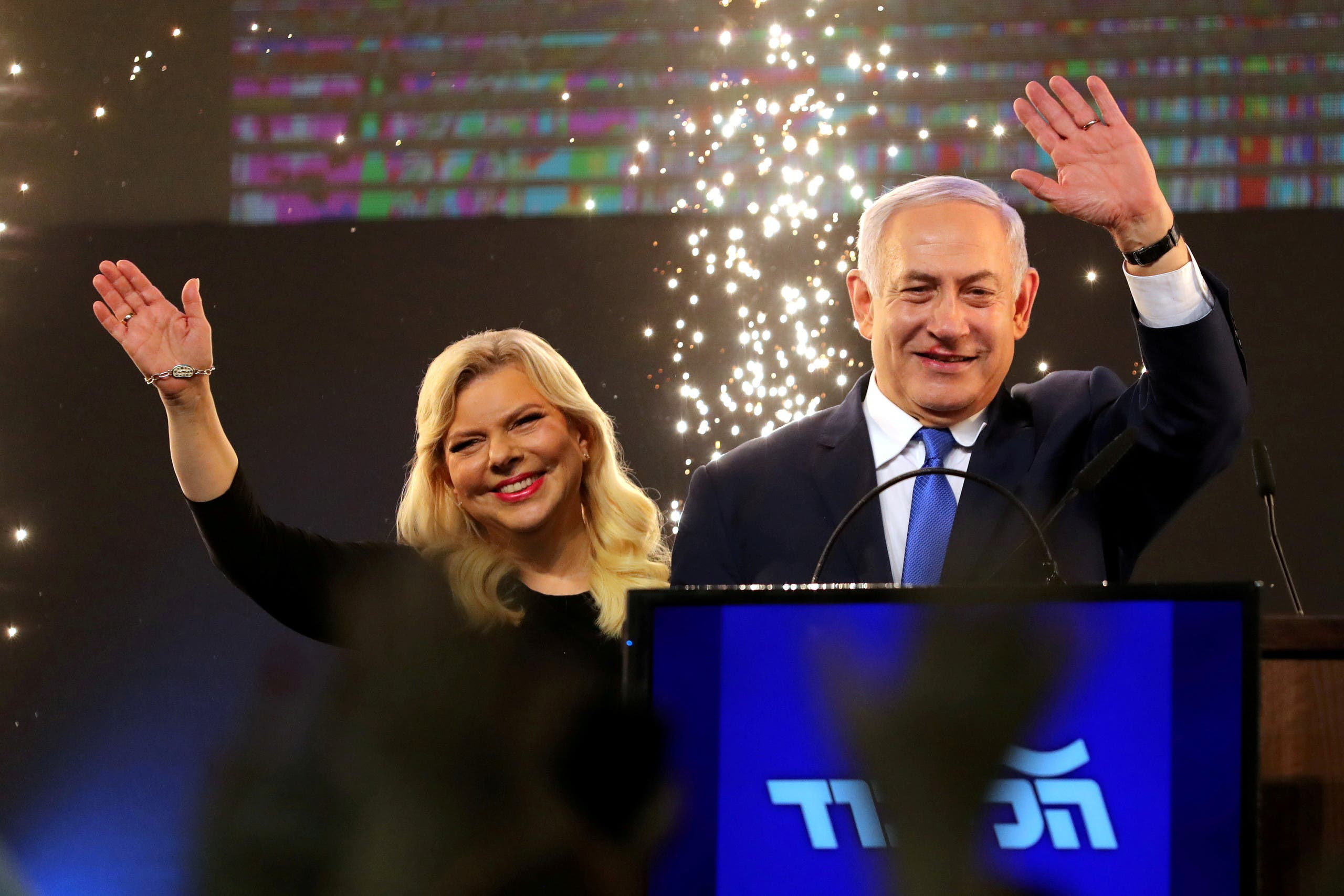 Benjamin Netanyahu and his wife Sarah after the Likud victory in the 2019 elections