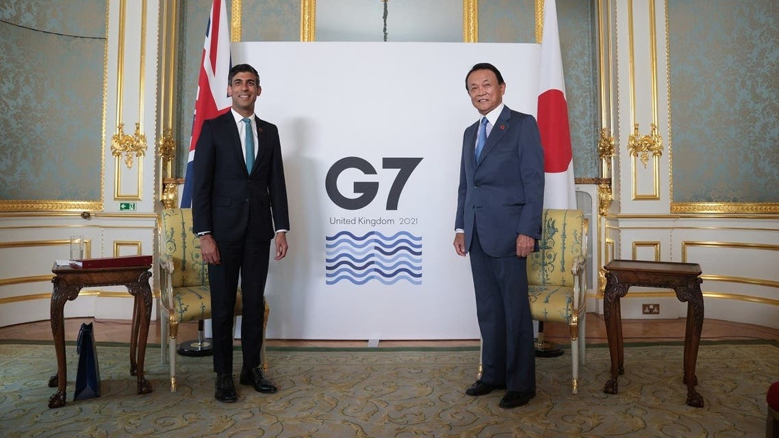 Britain's Chancellor of the Exchequer Rishi Sunak meets with Japanese Deputy Prime Minister and Finance Minister Taro Aso, in London, Britain June 3, 2021. (Reuters)
