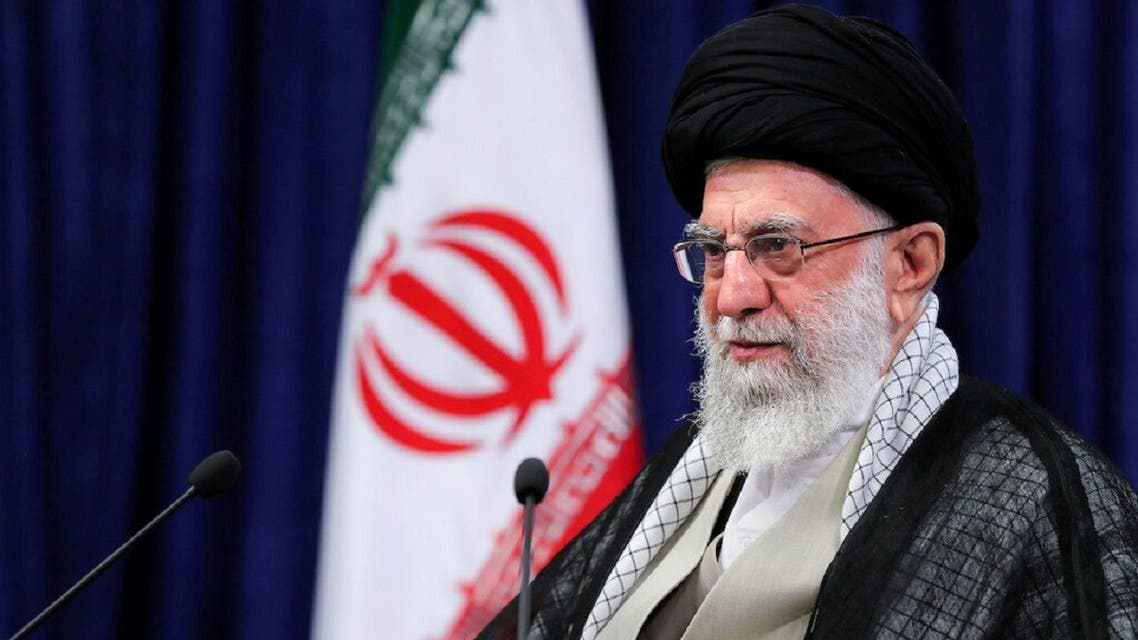Iran's Supreme Leader Ayatollah Ali Khamenei delivers a televised speech in Tehran, June 4, 2021. (Reuters)