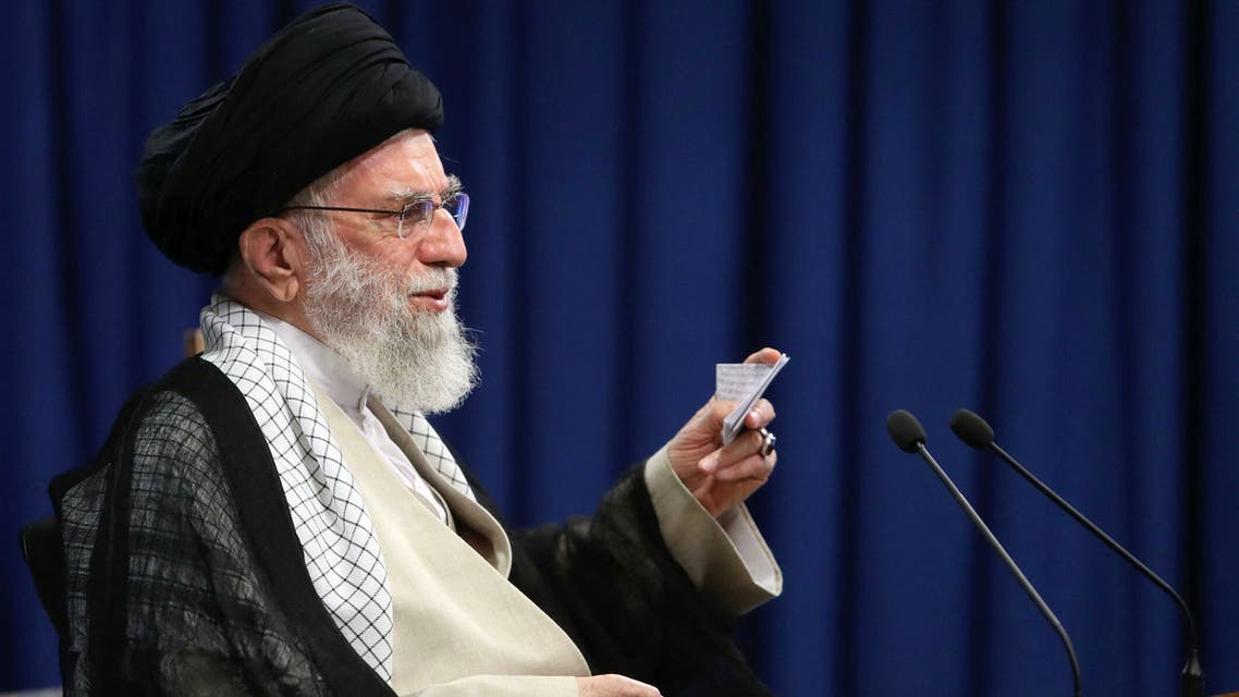 This handout picture provided by the office of Iran's Supreme Leader Ayatollah Ali Khamenei on June 4, 2021 shows him addressing the nation during a live TV speech on the occasion of the 32nd death anniversary of late supreme leader Ayatollah Ruhollah Khomeini.