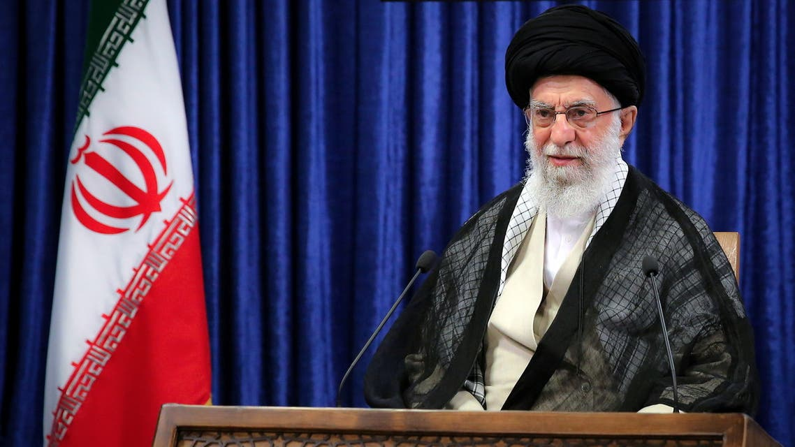 Iran's Supreme Leader Ayatollah Ali Khamenei delivers a live televised speech marking the annual Quds Day, or Jerusalem Day, on the last Friday of the Muslim holy month of Ramadan, in Tehran, Iran May 7, 2021. Official Khamenei Website/Handout via REUTERS ATTENTION EDITORS - THIS IMAGE WAS PROVIDED BY A THIRD PARTY. NO RESALES. NO ARCHIVES