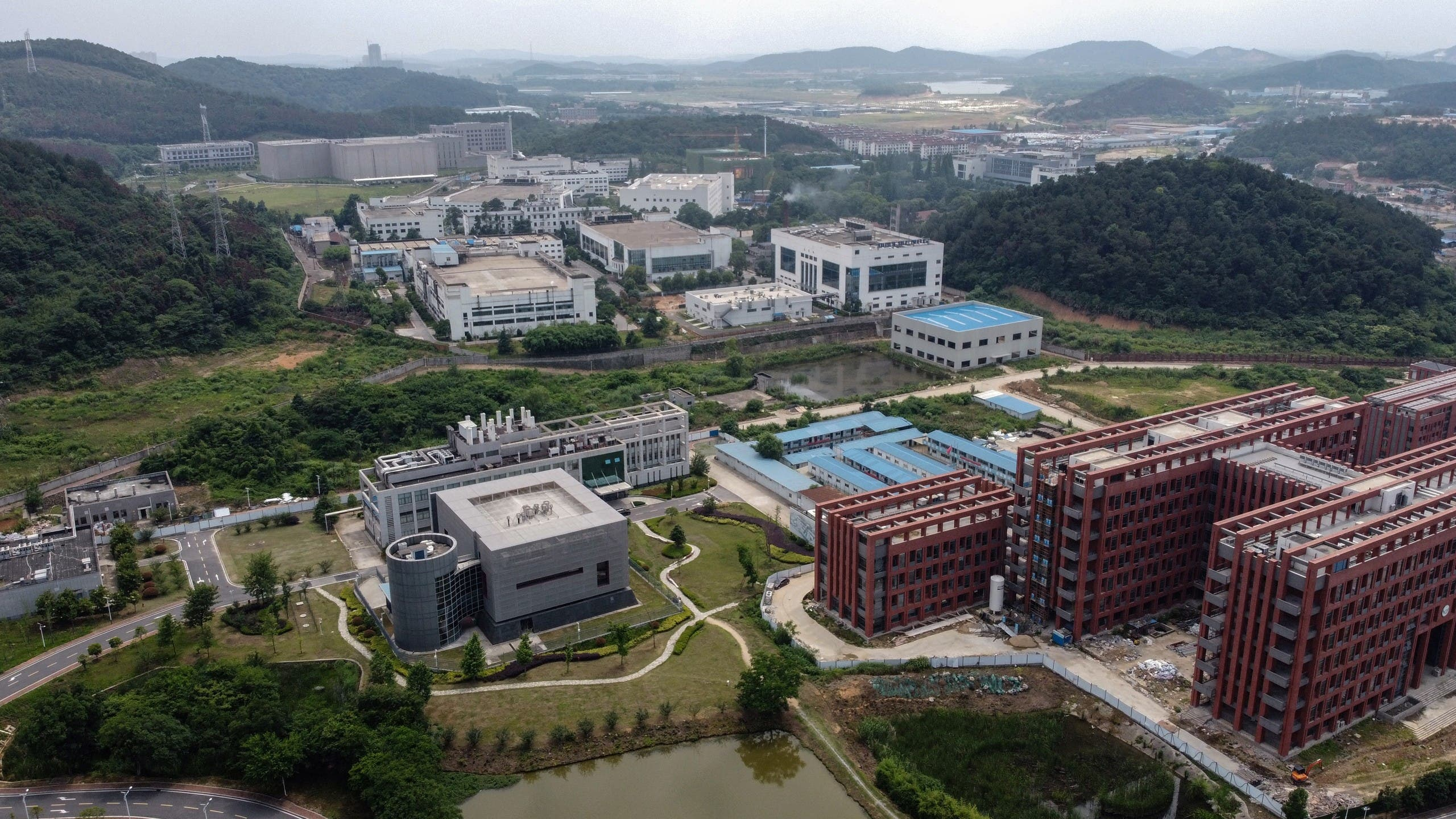 This aerial view shows the P4 laboratory (L) on the campus of the Wuhan Institute of Virology in Wuhan in China's central Hubei province on May 27, 2020.