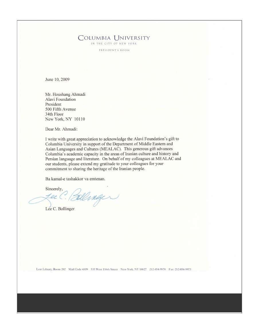 نامه قدردانی لی سی بالینگر، رئیس «دانشگاه کلمبیا»، به هوشنگ احمدی، رئیس «بنیاد علوی»، بابت کمک مالی بنیاد به «دپارتمان زبانها و فرهنگهای آسیا و خاورمیانه» دانشگاه