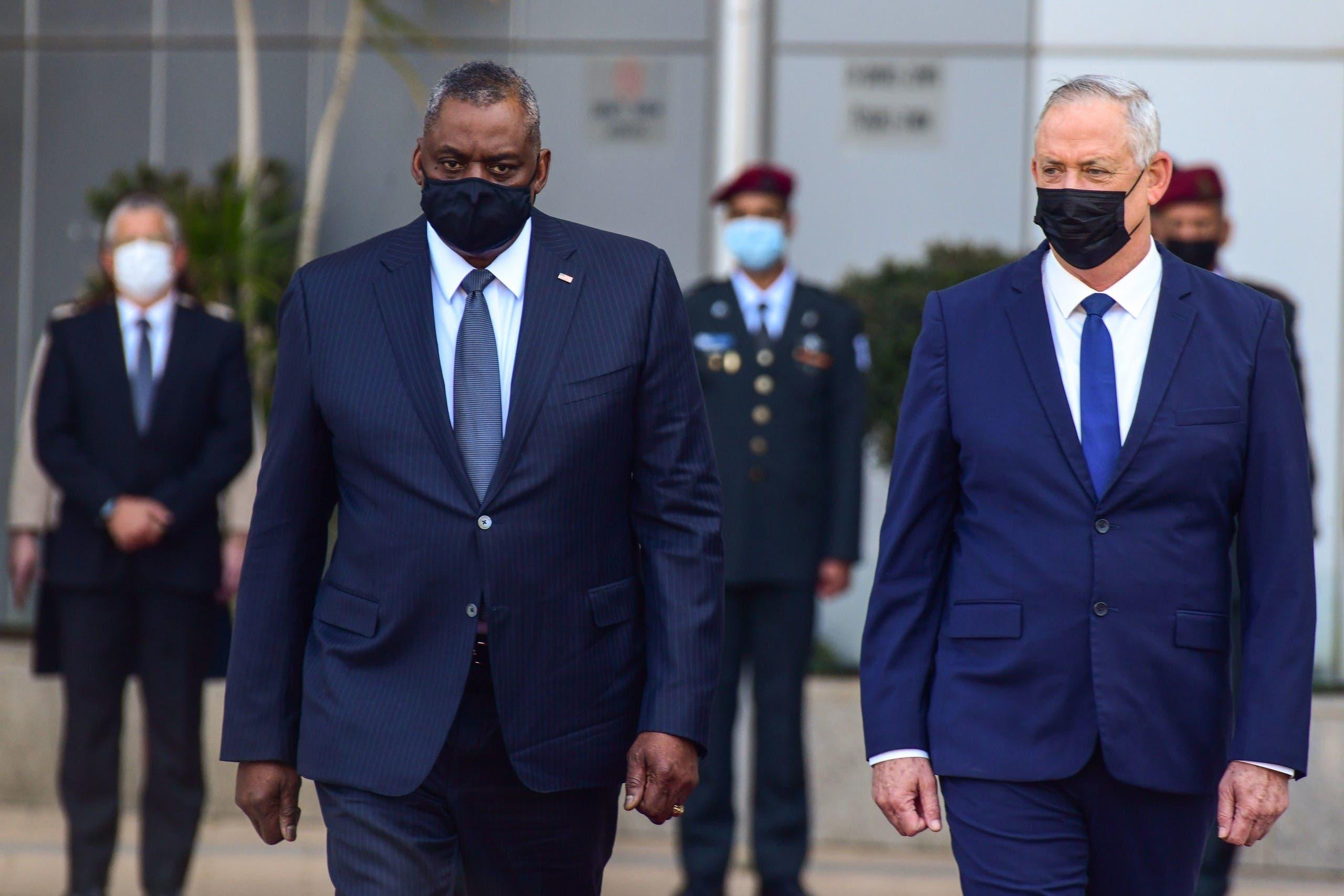 وزیر دفاع اسرائیل بنی گانتز با همتای آمریکایی خود لوید آستن