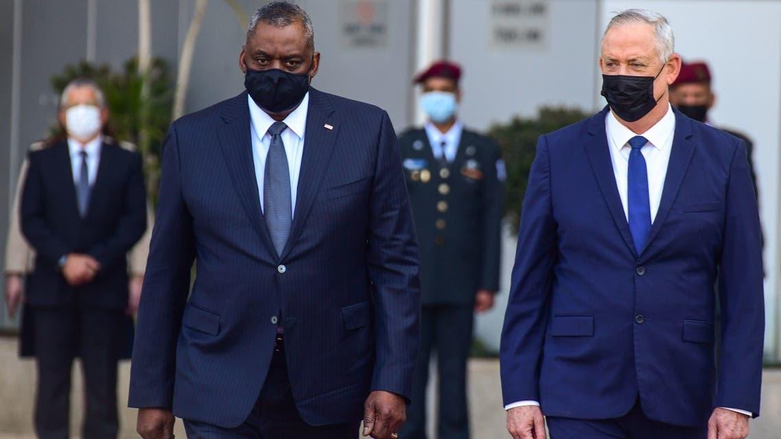 وزير الدفاع الإسرائيلي بيني غانتس مع نظيره الأميركي لويد أوستن