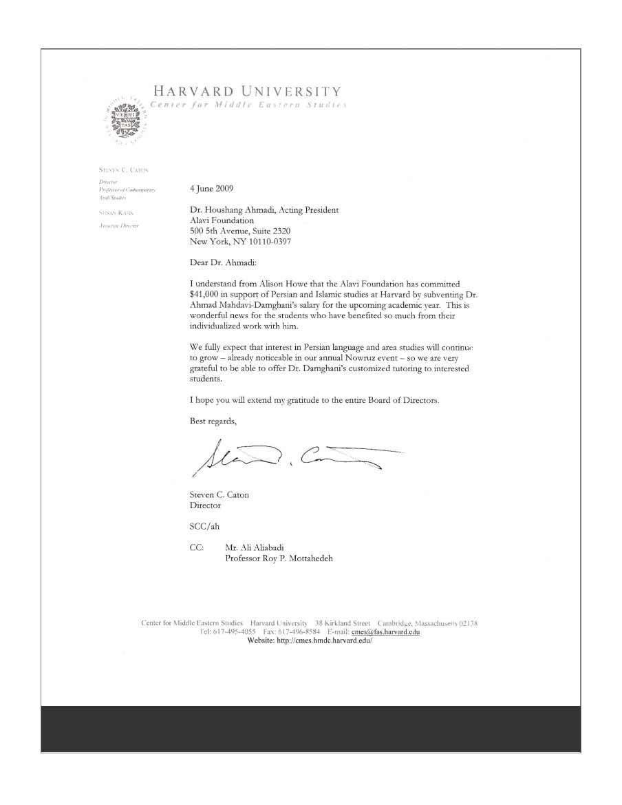 نامه قدردانی مدیر «دپارتمان مطالعات ایرانی و اسلامی» «دانشگاه هاروارد»، به هوشنگ احمدی، رئیس «بنیاد علوی»، بابت کمک مالی