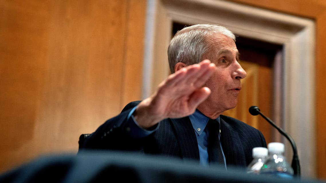 Anthony Fauci, director of the National Institute of Allergy and Infectious Diseases, speaks during a Senate Appropriations Subcommittee hearing in Washington, D.C., U.S., May 26, 2021. Stefani Reynolds/Pool via REUTERS