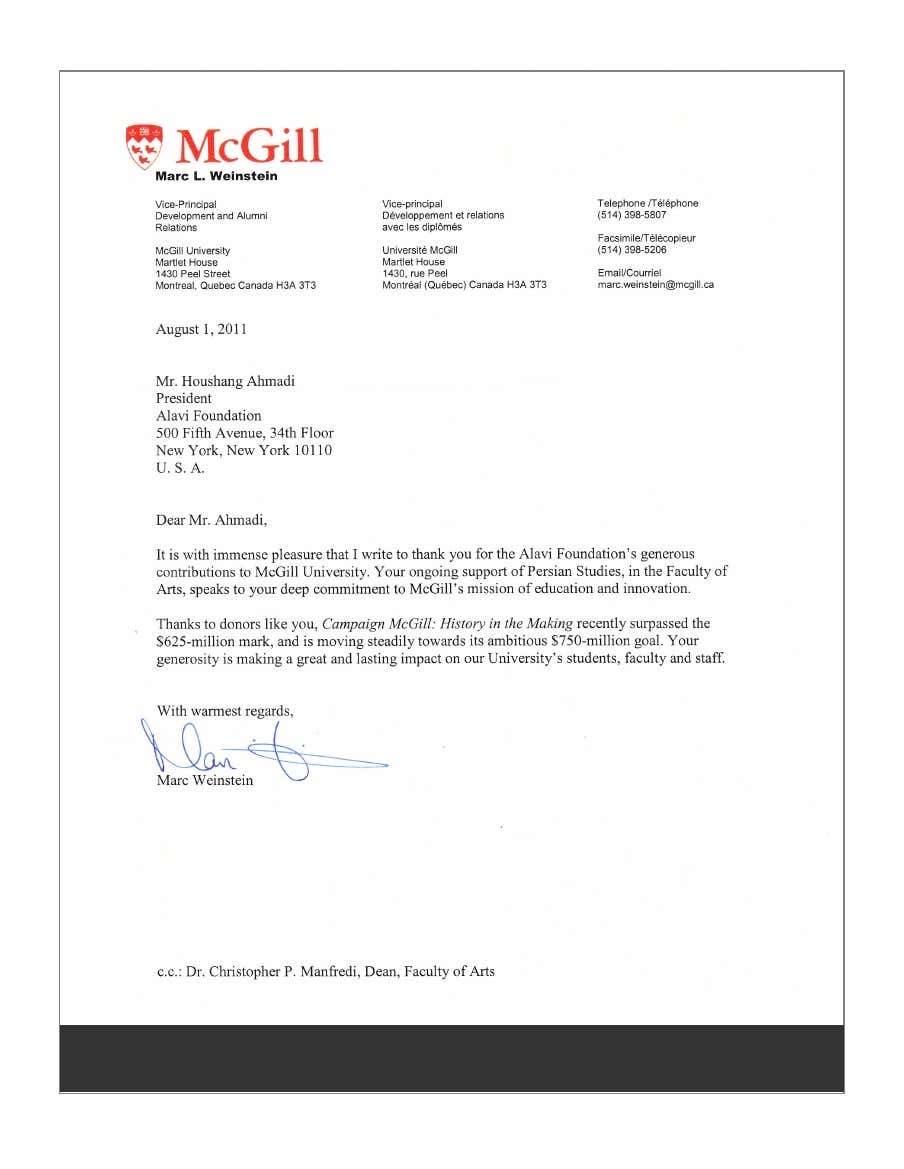 نامه قدردانی «دانشگاه مکگیل»، به هوشنگ احمدی، رئیس «بنیاد علوی»، بابت بابت کمک مالی بنیاد به بخش «مطالعات ایرانی» در سال 2011