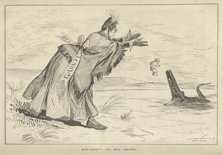رسم كاريكاتوري ساخر من القرن التاسع عشر حول استيطان الأطفال