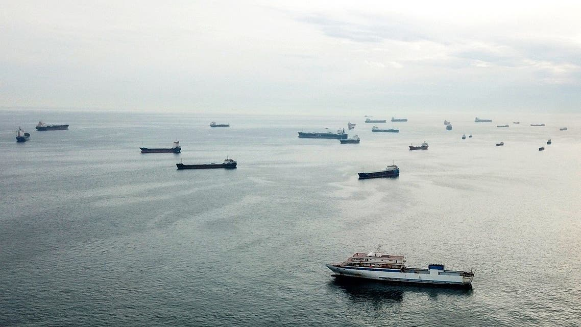 This April 23, 2021 photo in Istanbul shows anchored ships wait in the Sea of Marmara before sailing throught the Bosphorus Strait on route to the Black Sea. (AFP)
