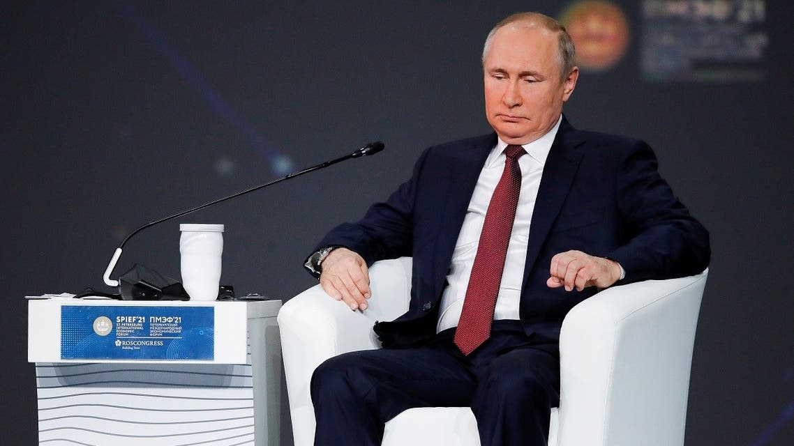 Russian President Vladimir Putin at the St. Petersburg International Economic Forum in Russia, June 4, 2021. (Reuters)