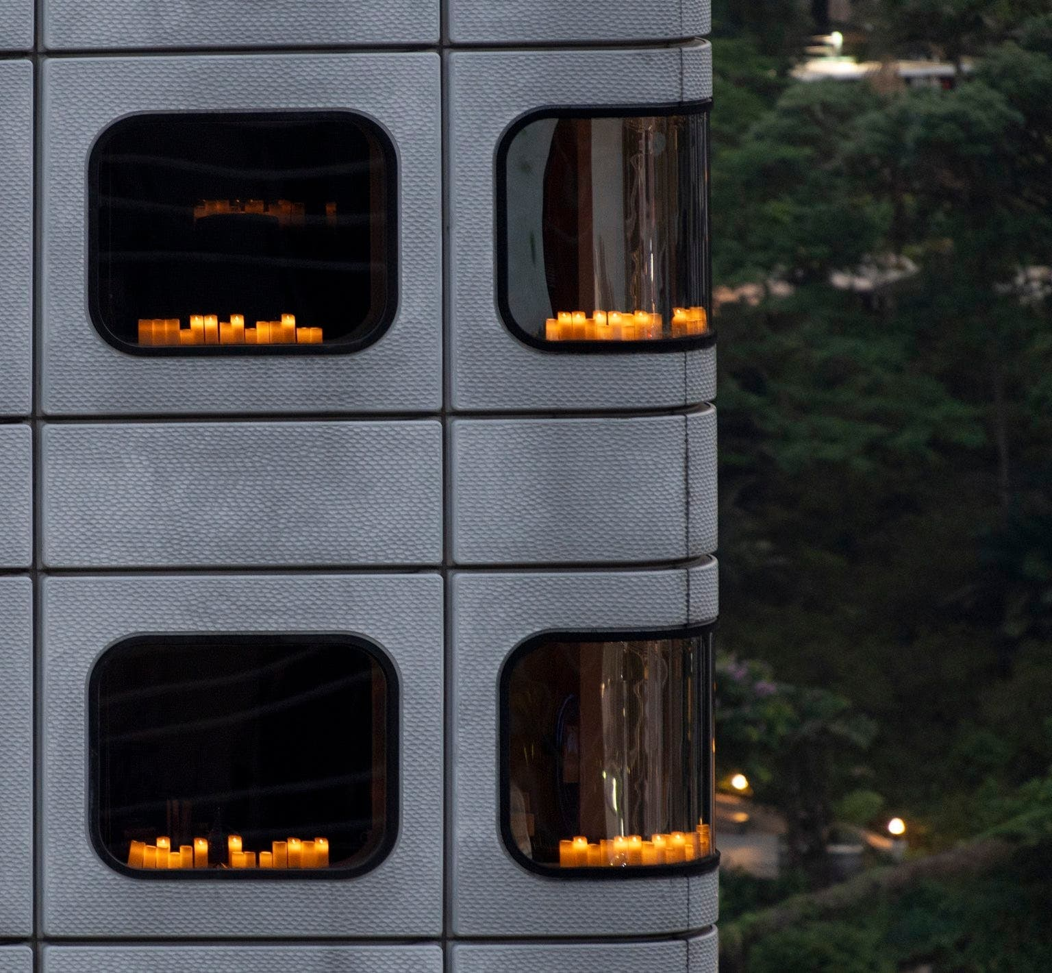 Candles on the windows of the European Union Consulate in Beijing