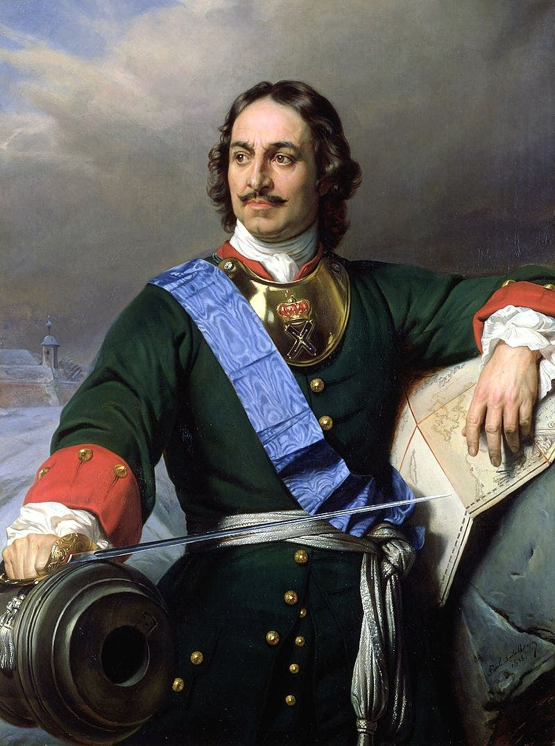 لوحة زيتية تجسد القيصر الروسي بطرس الأكبر
