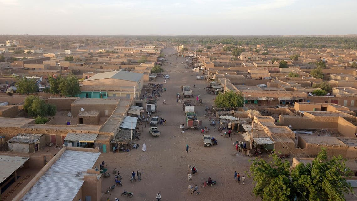 """An aerial view of Menaka on November 22, 2020. In October 2020 local armed group Gatia and pro-government armed group Mouvement de Salut de l'Azawad, launched a joint operation called """"Menaka Sans Armes"""". The operation aims to lower the number of weapons in circulation in and around the city of Menaka. Situated between Mali, Niger and Burkina Faso, Menaka is considered as an epicentre of Islamic State presence in the Sahel region."""