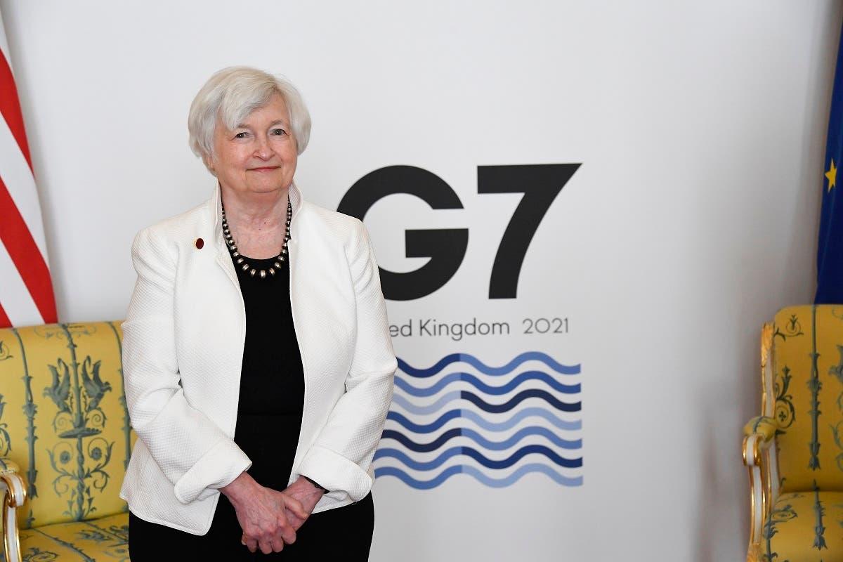 US Treasury Secretary Janet Yellen at the G7 nations meeting at Lancaster House in London, June 5, 2021, ahead of the G7 leaders' summit. (AP/Alberto Pezzali, Pool)