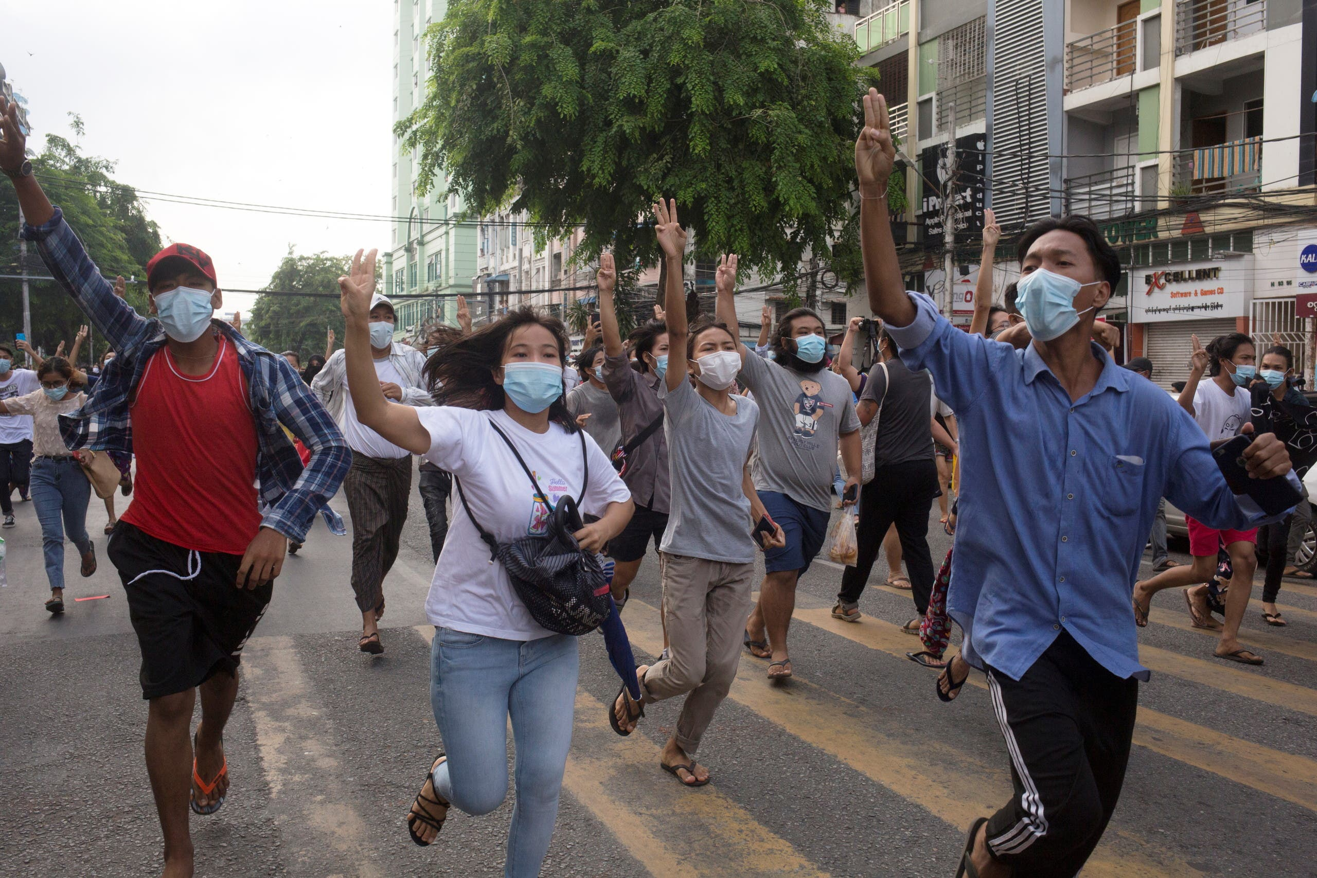 Took place on Thursday in Yangon held a peaceful anti-coup rally