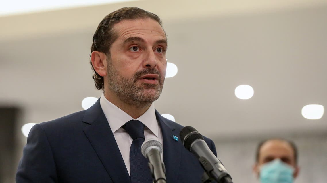 Prime Minister-designate Saad al-Hariri speaks after meeting with Lebanon's President Michel Aoun at the presidential palace in Baabda, Lebanon March 22, 2021. REUTERS/Mohamed Azakir