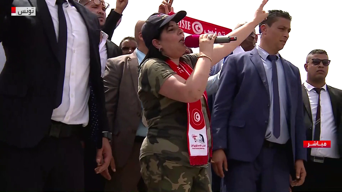 Abir Moussi, the head of the Free Constitutional Party, leads a protest in front of the Tunisian parliament. (Al Arabiya)