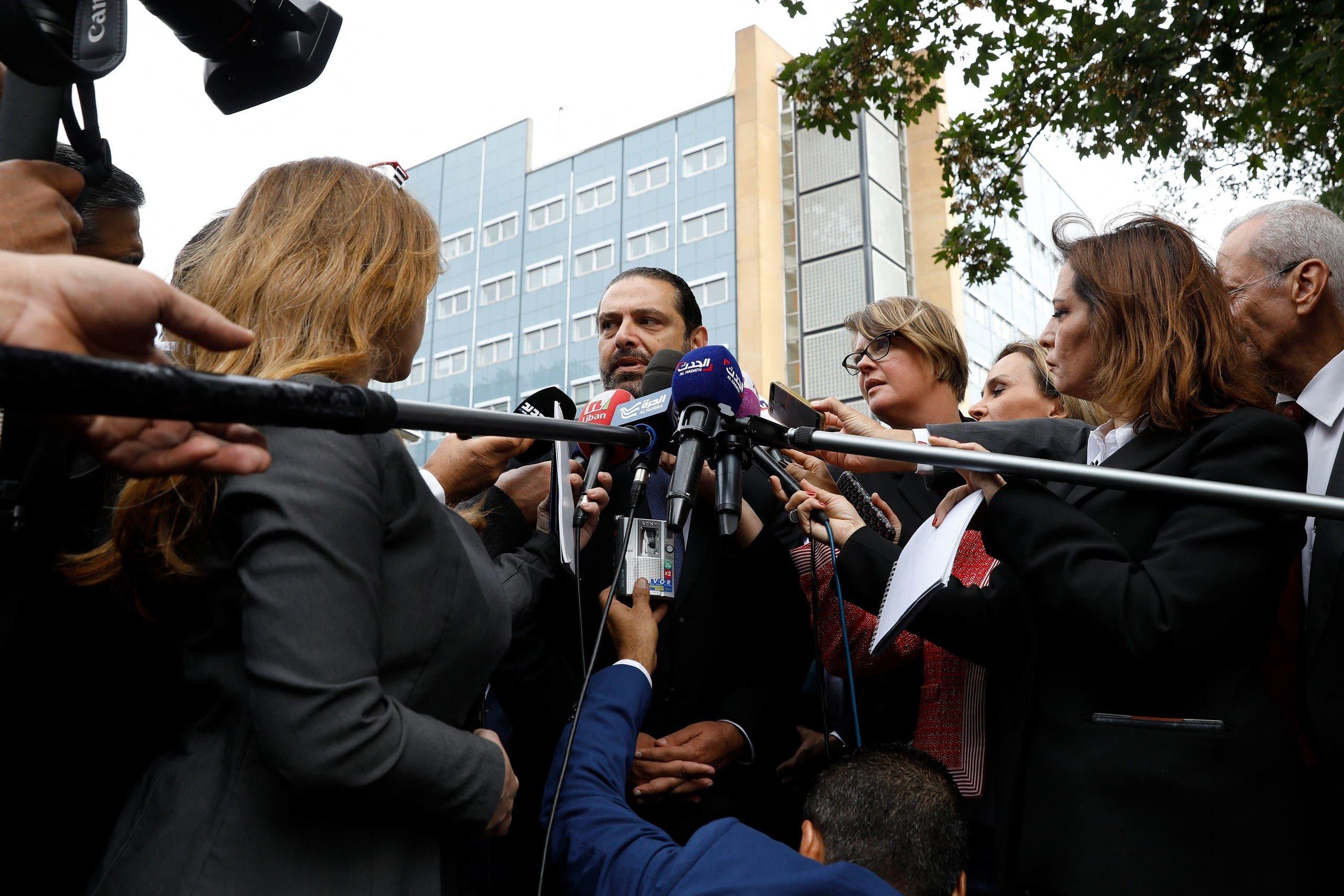 الحريري أمام مقر المحكمة في 2018