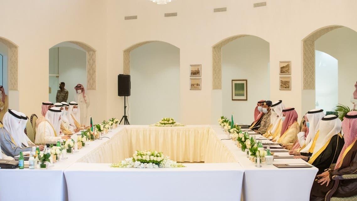 Saudi Arabia's Foreign Minister Prince Faisal bin Farhan and Kuwait's Foreign Minister Sheikh Ahmad Nasser al-Sabah hold the first Saudi-Kuwaiti Coordination Council meeting. (Twitter)