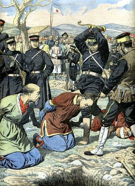 رسم تخيلي لعملية إعدام عدد من الصينيين على يد القوات اليابانية خلال الحرب الصينية اليابانية الأولى
