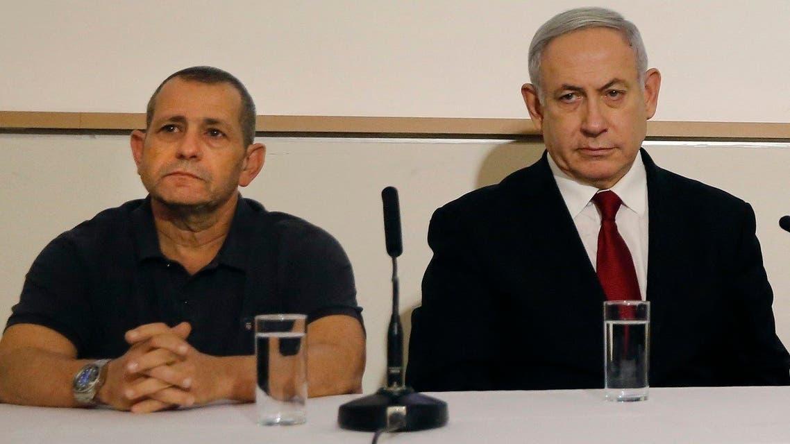 Israeli PM Netanyahu and Shin Bet director Nadav Argaman (L) attend a presser at the Defense Ministry in Tel Aviv on November 12, 2019. (Gil Cohen-Magen/AFP)